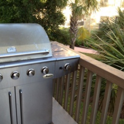 Stainless bbq grill with propane for making Texas BBQ