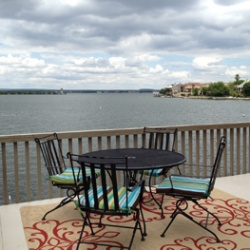 Dining patio table with lake view